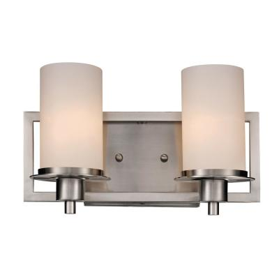 Odyssey 2-Light Brushed Nickel Bath Light