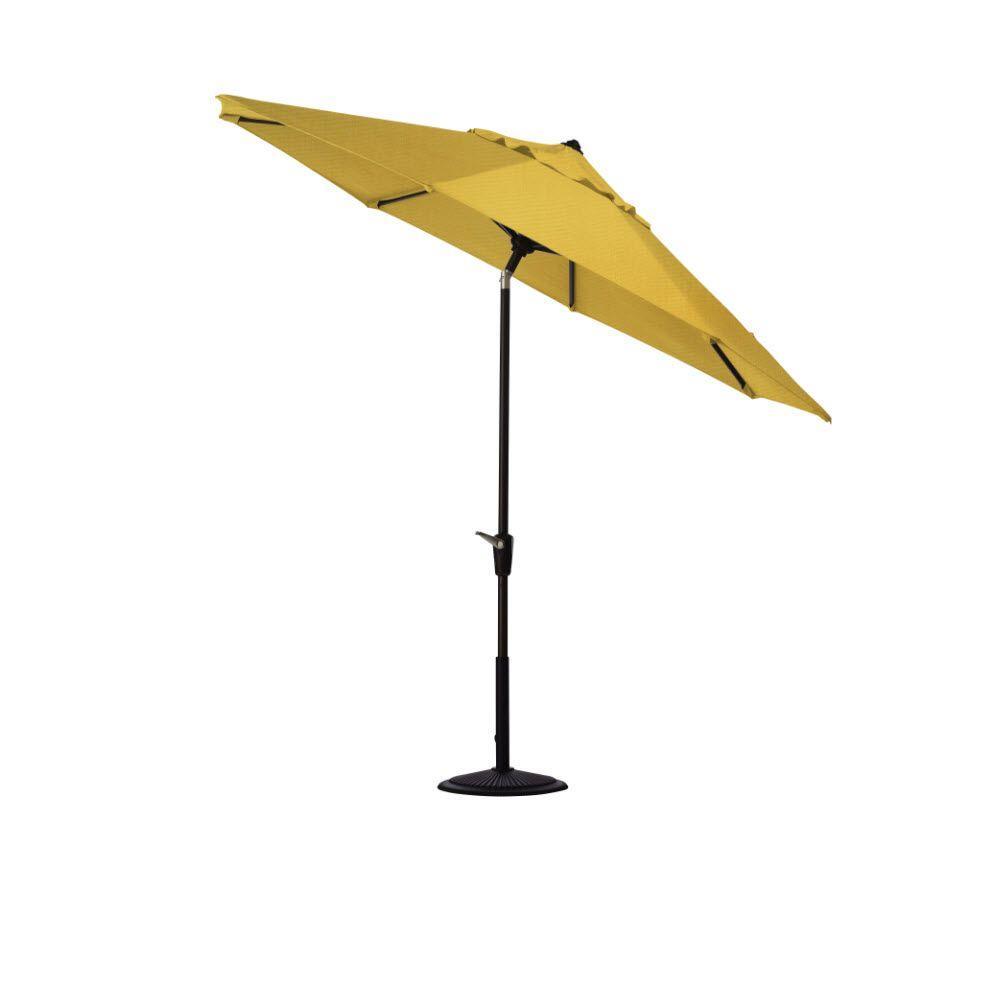 Home Decorators Collection 6 ft. Auto-Tilt Patio Umbrella in Daffodil Sunbrella with Black Frame