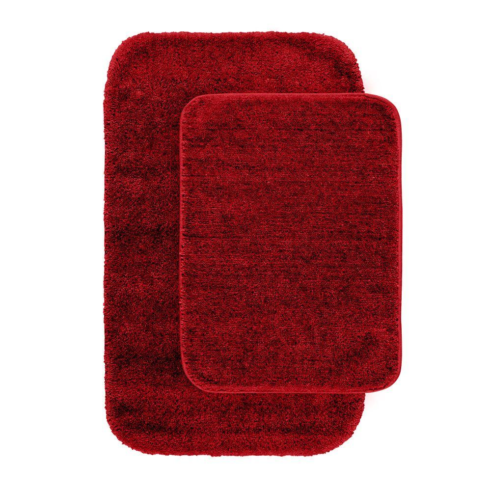 Traditional Chili Pepper Red 21 In X 34 Washable Bathroom 2 Piece Rug Set