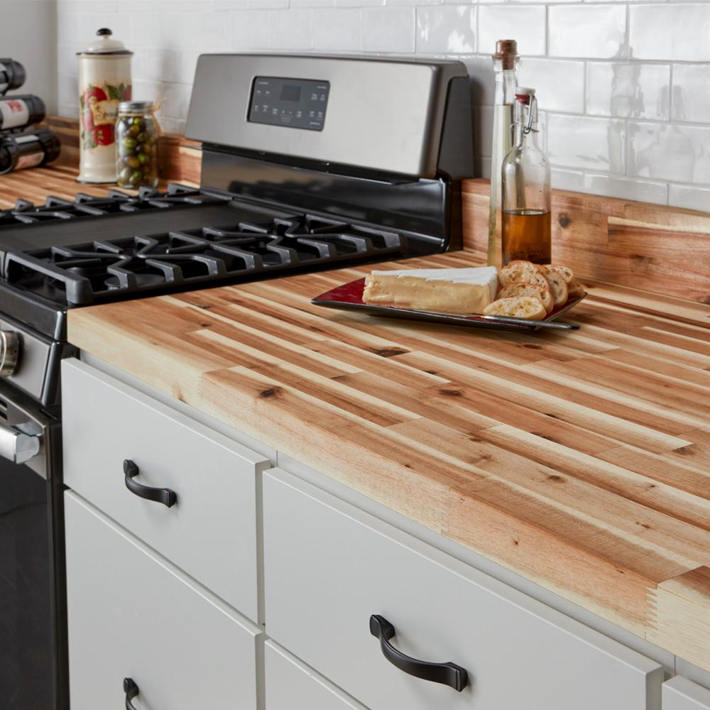 Hampton Bay Unfinished Acacia 8 Ft L X 2 In D X 1 5 In T Butcher Block Countertop Ac0498 The Home Depot