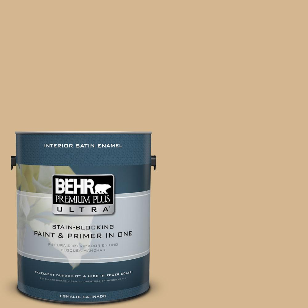 1 gal. #320F-4 Desert Camel Satin Enamel Interior Paint and Primer