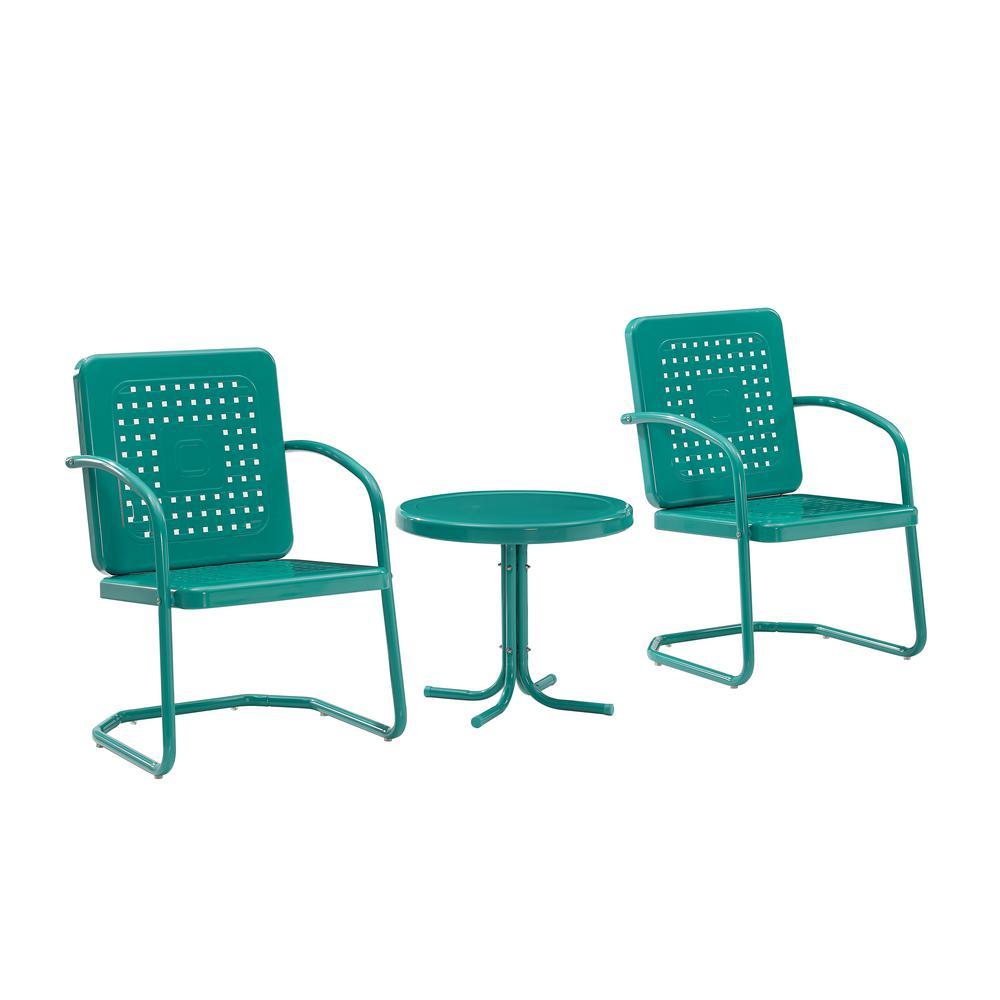 Bates Turquoise 3-Piece Metal Patio Conversation Set