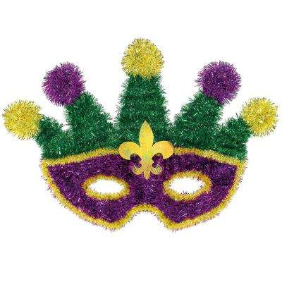 13 in. Mardi Gras Green, Purple and Gold Tinsel Masquerade Mask Decoration (2-Pack)