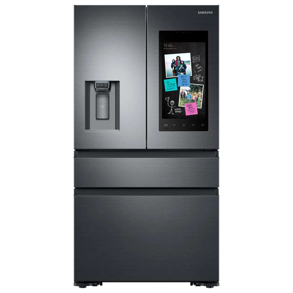 Samsung 22.2 cu. Ft. Family Hub 4-Door French Door Recessed Handle Smart Refrigerator in Black Stainless, Counter Depth