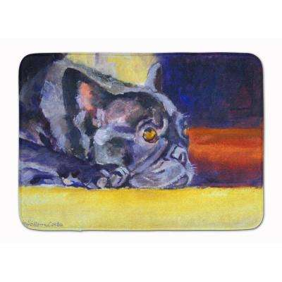 19 in. x 27 in. Black French Bulldog Sunny Machine Washable Memory Foam Mat