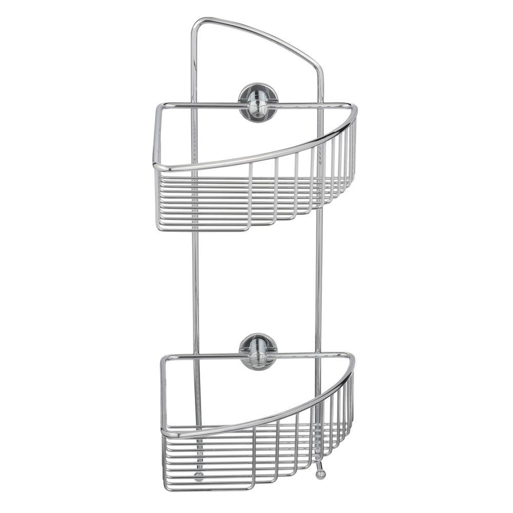Draad Rustproof Solid Brass Shower Caddy 16 in. Double Shelf Corner