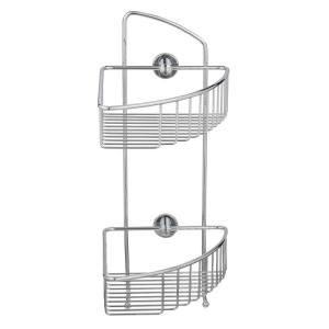 No Drilling Required Draad Rustproof Solid Brass Shower Caddy 16 inch Double Shelf Corner... by No Drilling Required