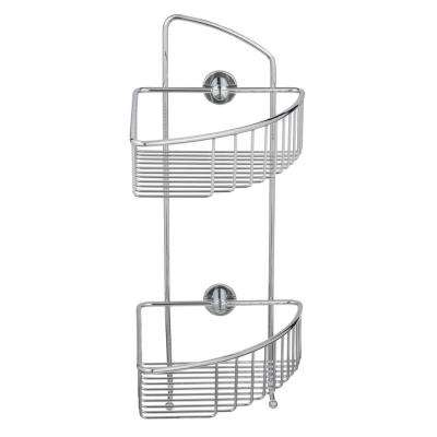 Draad Rustproof Solid Brass Shower Caddy 16 in. Double Shelf Corner Mount with Hook in Chrome