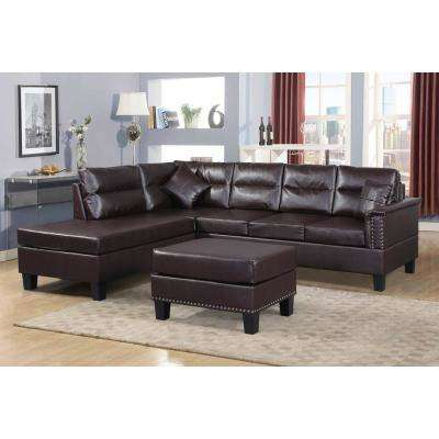 3-Piece Black and Brown Sectional Sofa Set with Ottoman