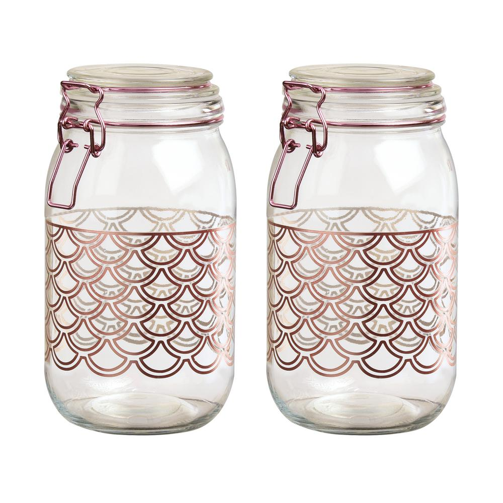 Pasadena 2-Piece Glass Hermetic Storage Canister Set with Scallop Design