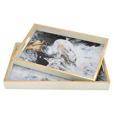 1.75 in. White Wood/Glass Trays (Set of 2)