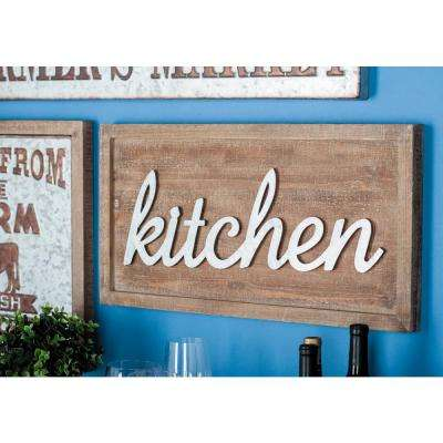 "24 in. x 12 in. Home and Health Wood and Metal ""Kitchen"" Wall Sign"