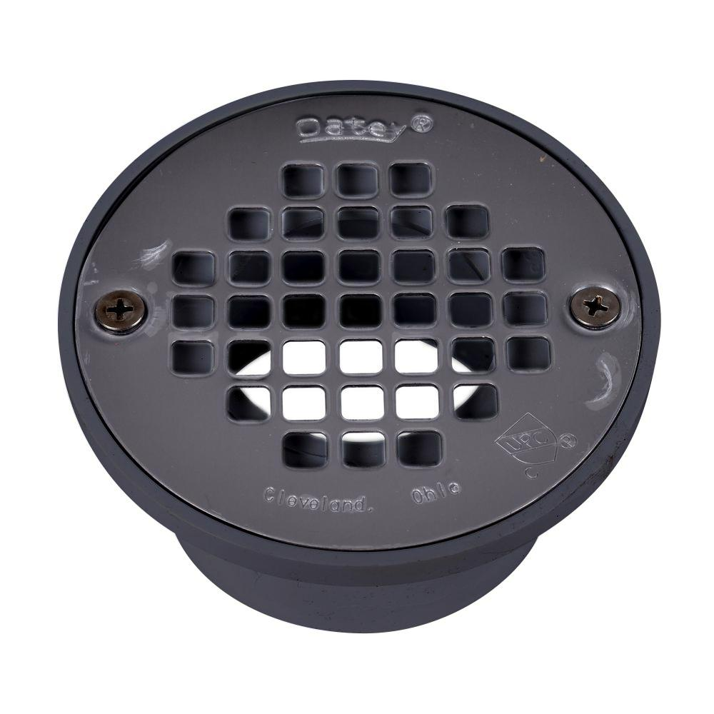 Oatey Round Gray Pvc Shower Drain With 4 In Round Screw In Stainless Steel Drain Cover 435792 The Home Depot
