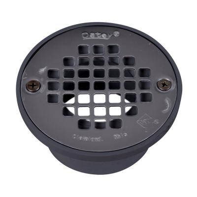 Round Gray PVC Shower Drain with 4 in. Round Screw-In Stainless Steel Drain Cover