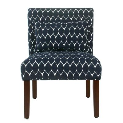 Modern Geo Textured Navy Parker Accent Chair with Pillow