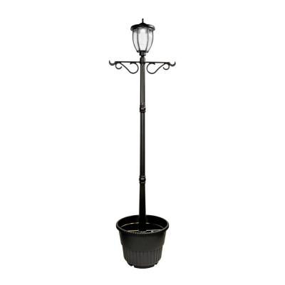 Solar Powered Outdoor LED Black Lamp Post with Planter