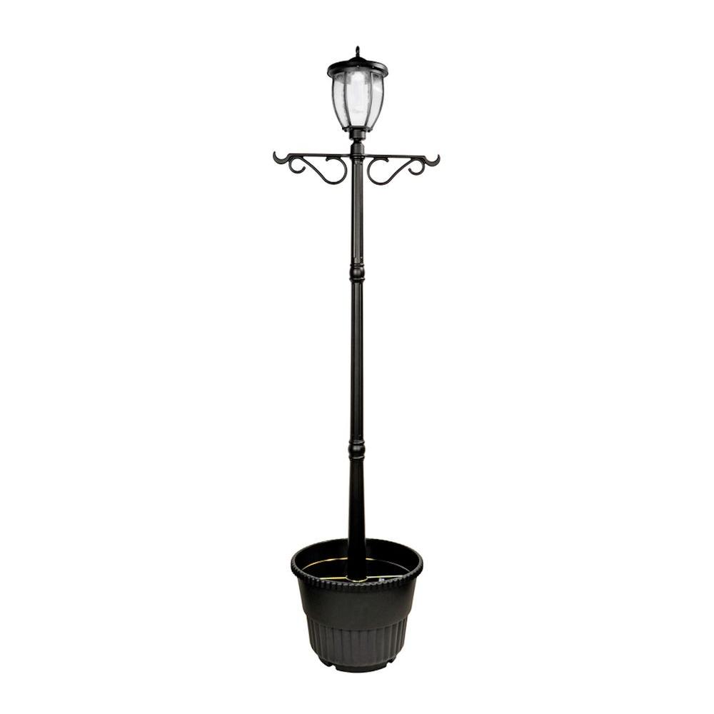 Nature Power Solar Powered Outdoor Led Black Lamp Post With Planter