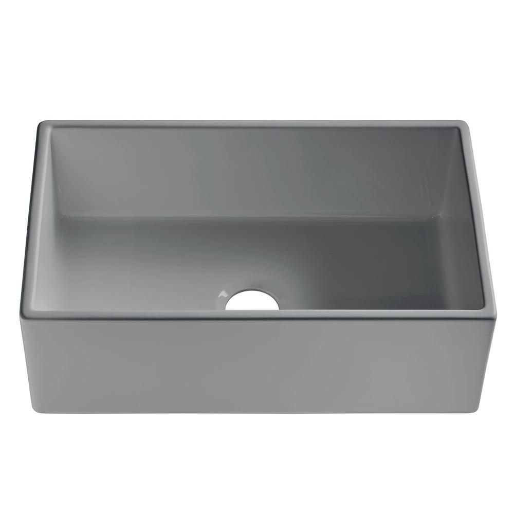 SINKOLOGY Bradstreet II Farmhouse Fireclay 30 in. Single Bowl Kitchen Sink in Rainy Day Gloss Gray