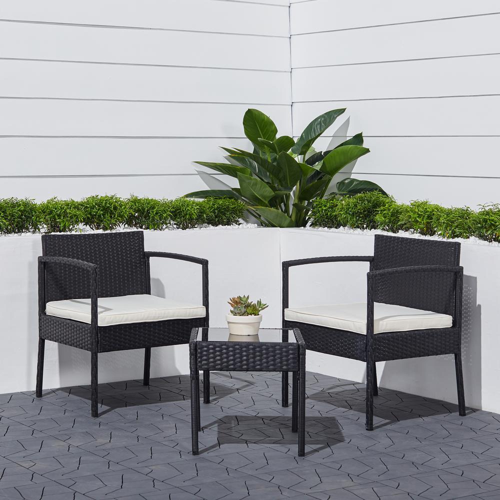 Tierra 3-Piece Wicker Patio Conversation Set with White Cushions