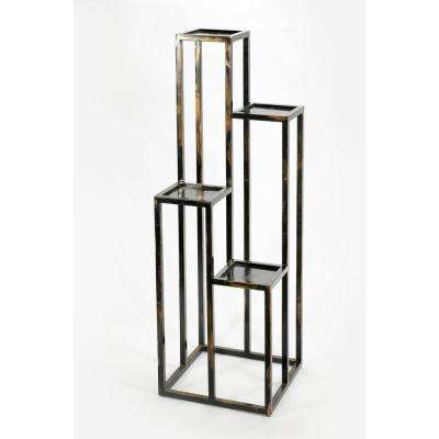 47.25 in. 4 Tier Black/Gold Cast Metal Plant Stand