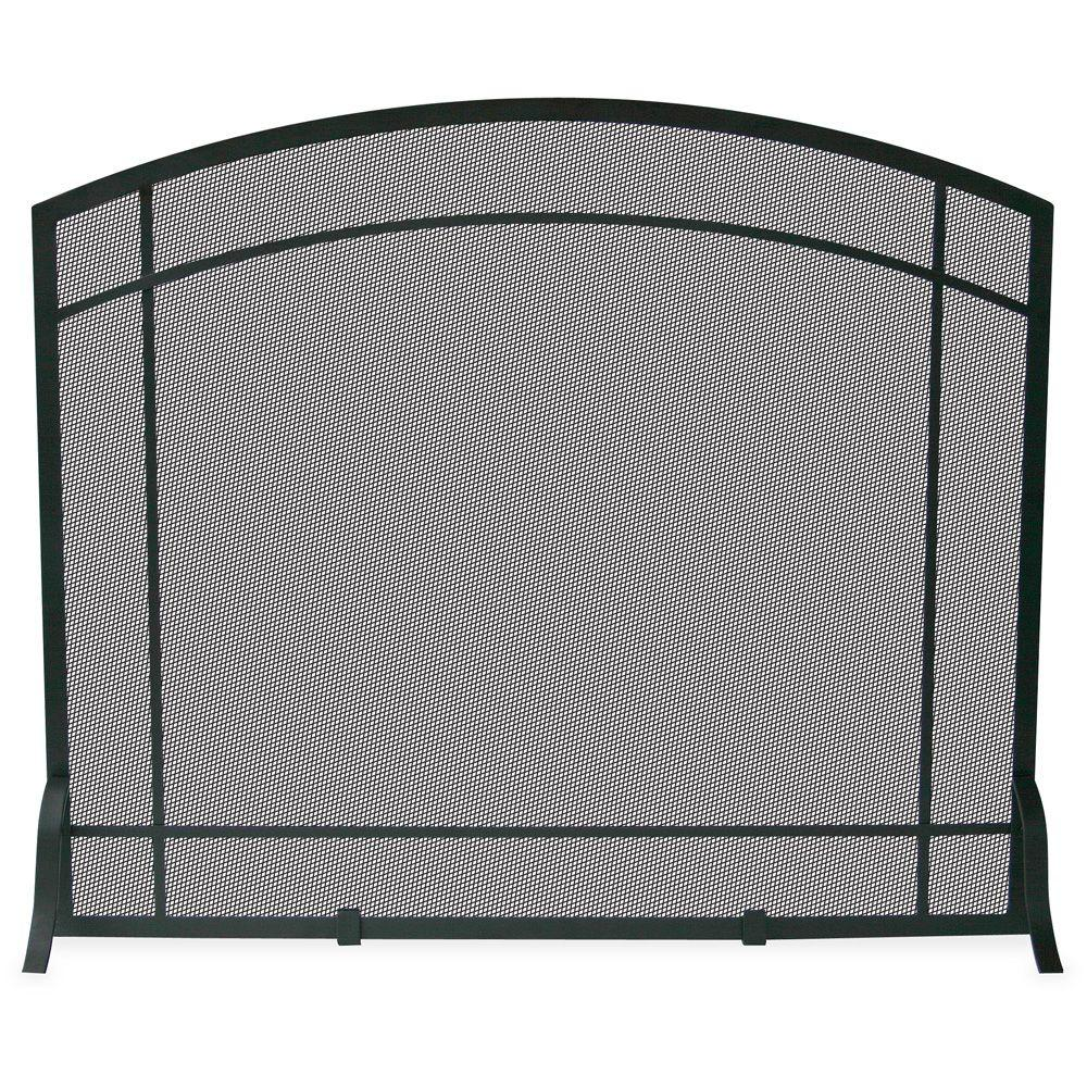 Beautiful UniFlame Black Wrought Iron Single Panel Fireplace Screen With Mission  Design
