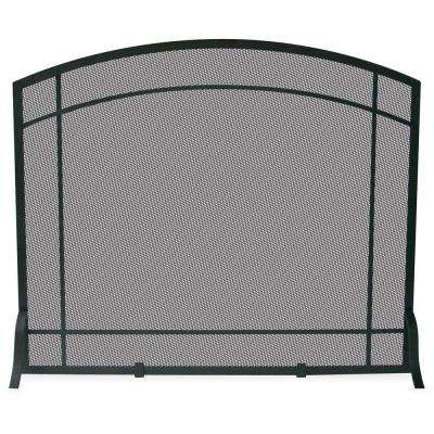 Black Wrought Iron Single-Panel Fireplace Screen with Mission Design