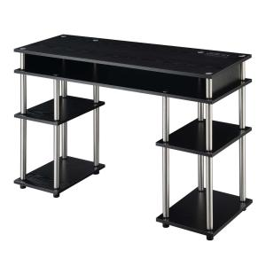 Designs2Go 47.25 in. W Black No Tools Student Desk with Charging Station