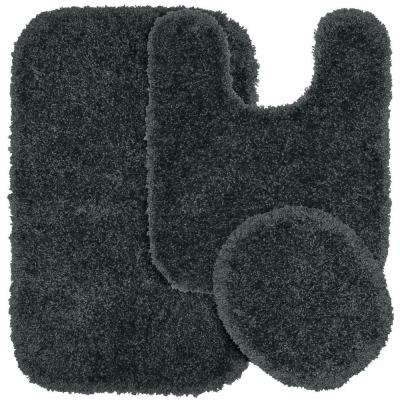 Serendipity Dark Gray 21 in. x 34 in. Washable Bathroom 3-Piece Rug Set