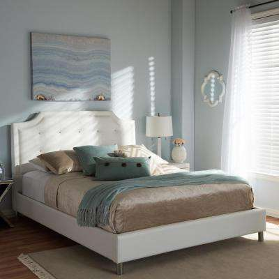 Carlotta Transitional White Faux Leather Upholstered King Size Bed