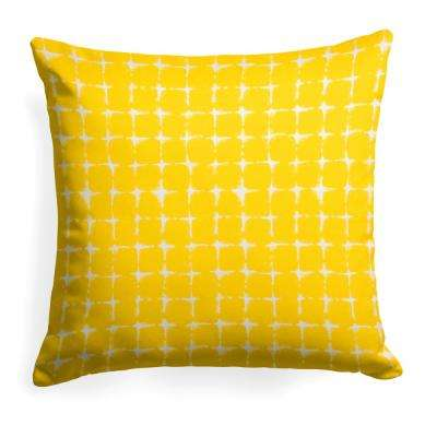Sea Island Yellow Square Outdoor Throw Pillow