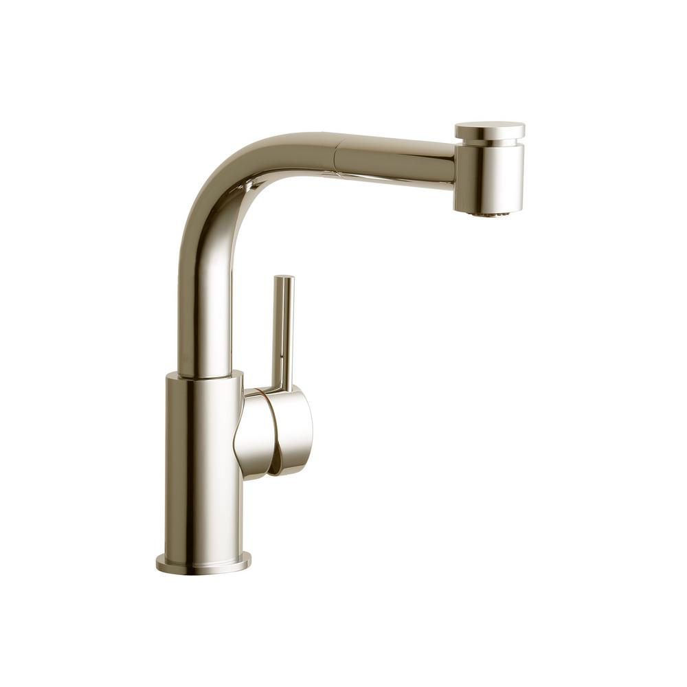 Elkay Mystic Single Handle Pull Out Sprayer Bar Faucet In Brushed Nickel