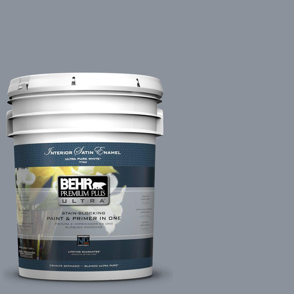 BEHR Premium Plus Ultra 5-gal. #PPF-28 Blue Dusk Satin Enamel Interior Paint