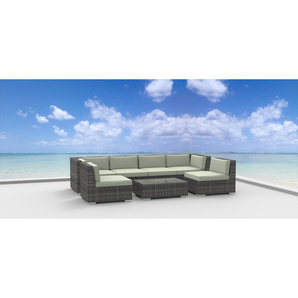 Miraculous Urban Furnishing Oahu 7 Piece Wicker Patio Sectional Seating Set With Beige Cushions Interior Design Ideas Skatsoteloinfo