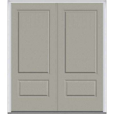 72 in. x 80 in. Classic Right-Hand Inswing 2-Panel Painted Fiberglass Smooth Prehung Front Door with Brickmould