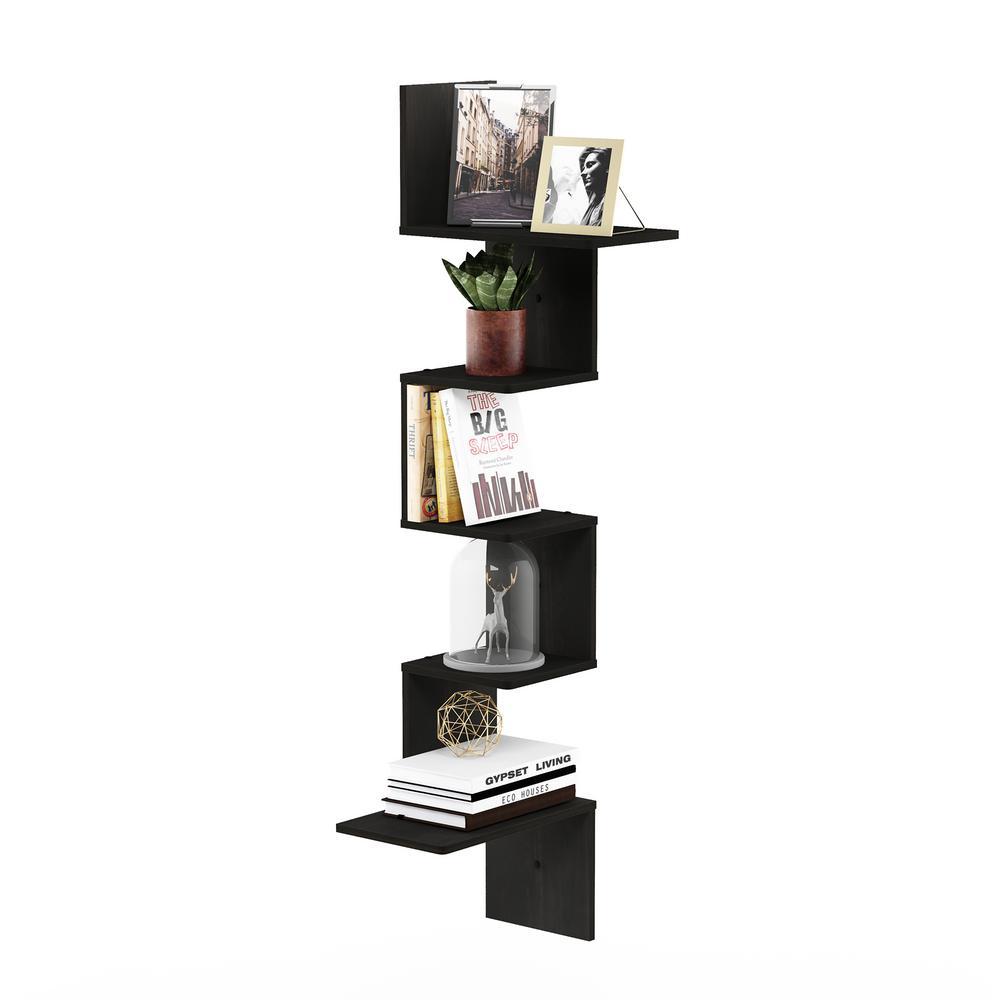 Rossi Modern 13 in. x 13 in. x 49 in. Espresso Wood Decorative Wall Shelf