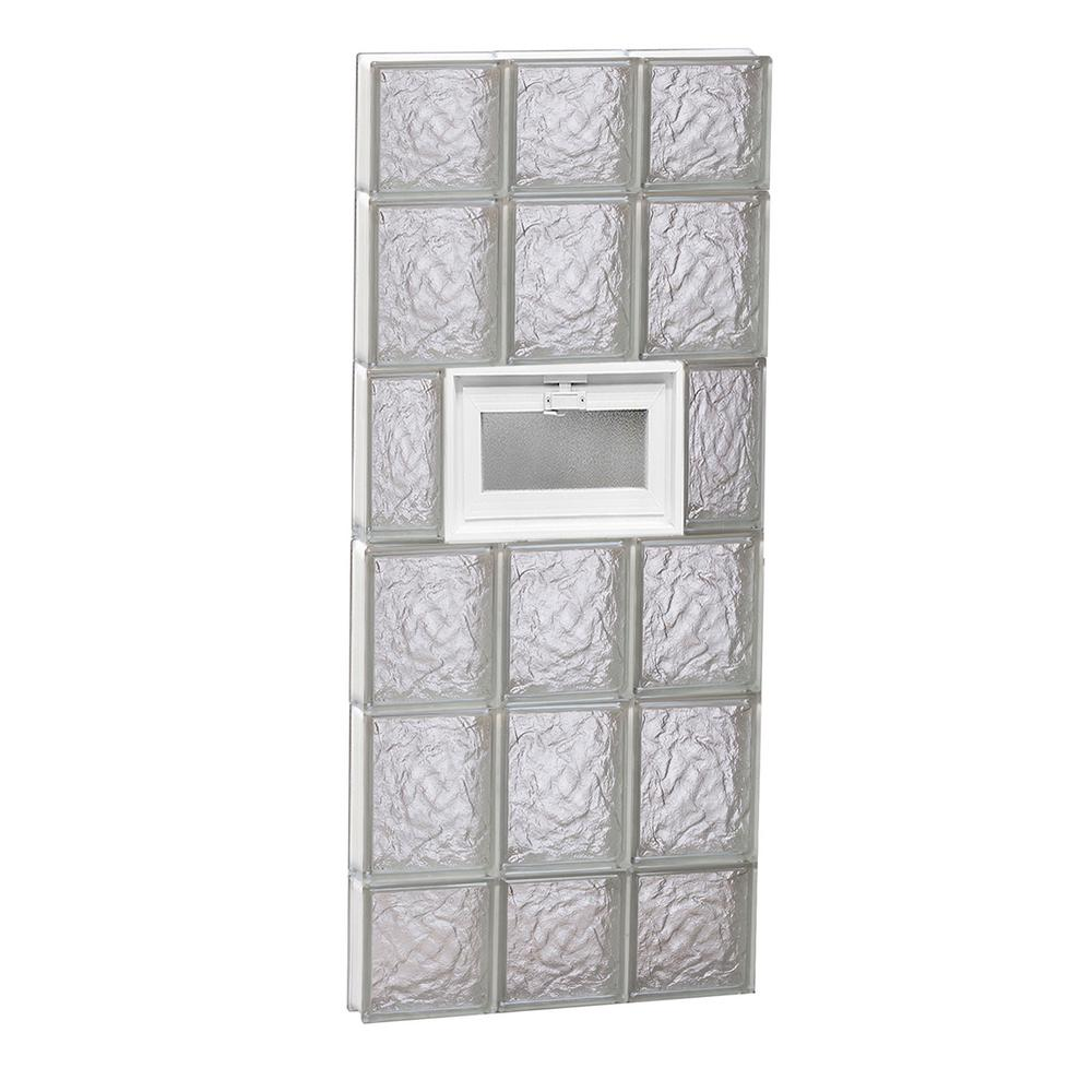Clearly Secure 17.25 in. x 42.5 in. x 3.125 in. Frameless Vented Ice Pattern Glass Block Window