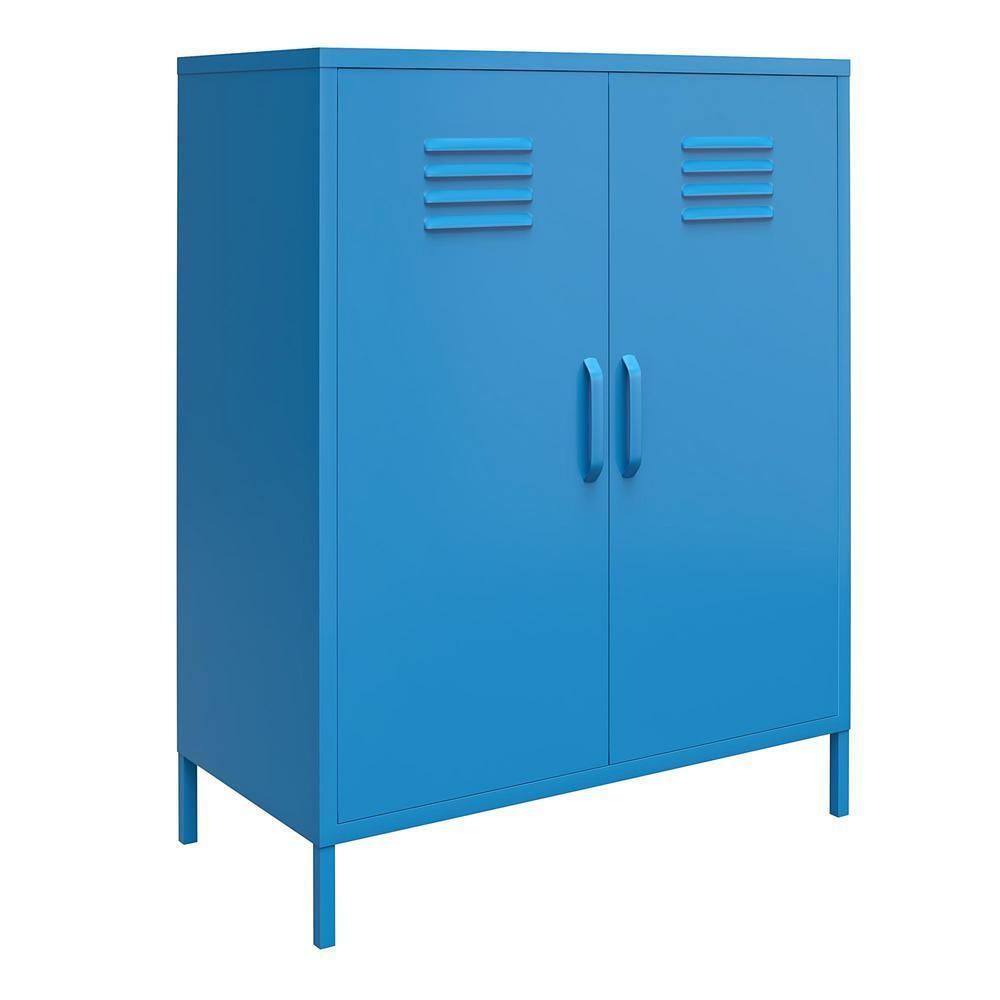 Cache Blue 2-Door Metal Storage Cabinet