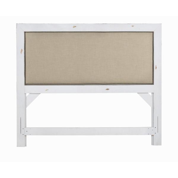 Willow Distressed White Queen Upholstered Headboard