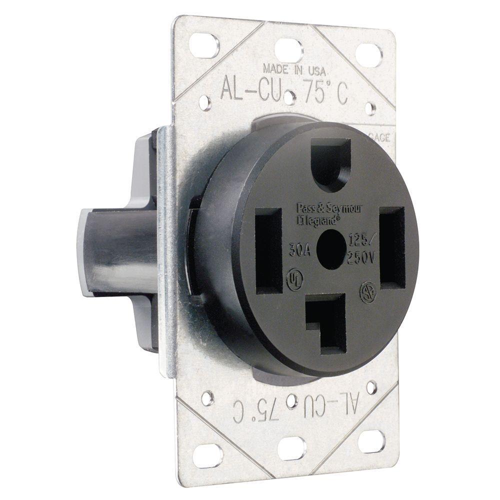 Pass & Seymour 30 Amp 125/250-Volt NEMA 14-30R Flush Mount Power Outlet