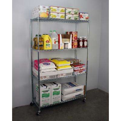 72 in. H x 48 in. W x 18 in. D NSF 4-Tier Wire Chrome Shelving Rack with Wheels