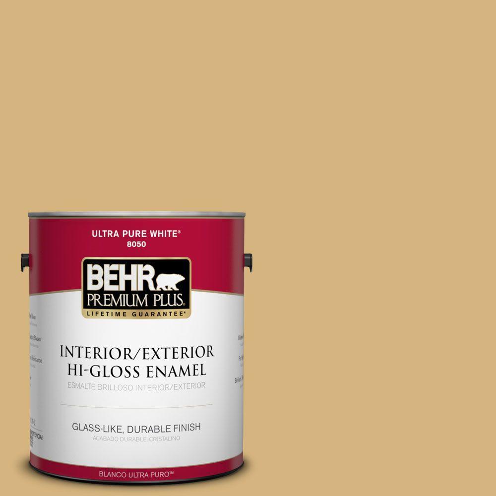 BEHR Premium Plus 1-gal. #M300-4 Gilded Hi-Gloss Enamel Interior/Exterior Paint