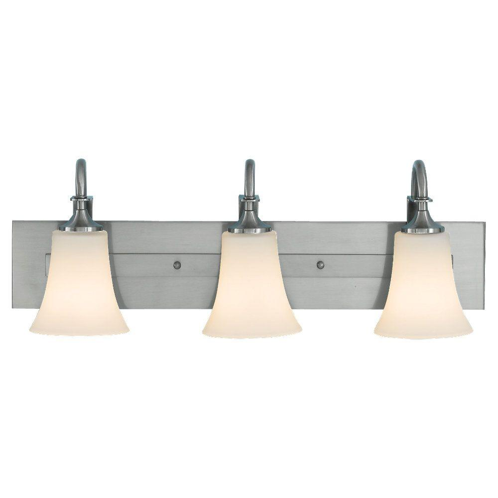 Sea Gull Lighting Barrington 24 in. W. 3-Light Brushed Steel Vanity Light with Opal Etched Glass Shades