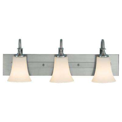 Barrington 24 in. W. 3-Light Brushed Steel Vanity Light with Opal Etched Glass Shades