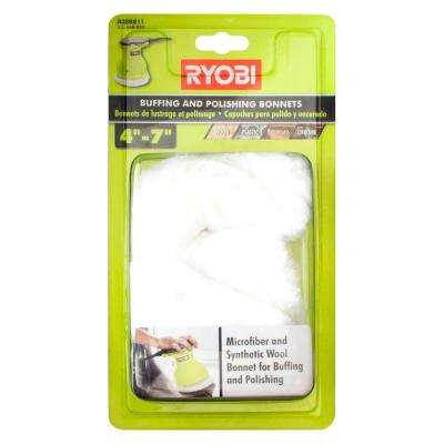4 in. - 7 in. Microfiber and Synthetic Fleece Buffing Bonnet Set (2-Piece)