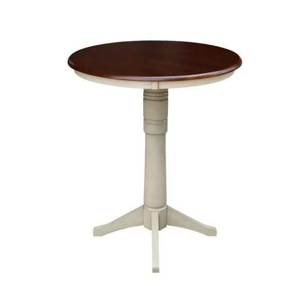 International Concepts Olivia 30 in. Almond and Espresso Round Bar Table