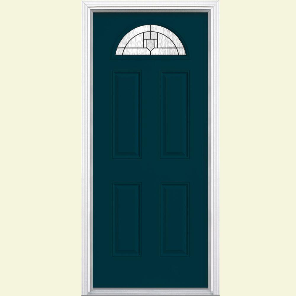 Masonite Glendale Fan Lite Painted Steel Prehung Front Door with Brickmold-DISCONTINUED