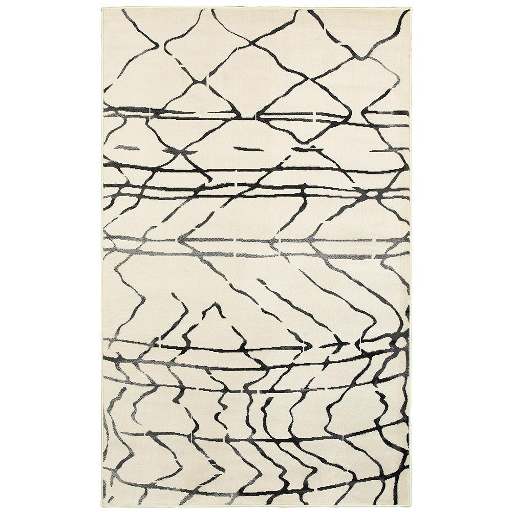 Matrix White/Black Rectangle 5 ft. 2 in. x 7 ft. 2 in. Indoor Area Rug