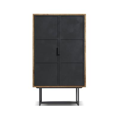Parisian Factory 59 in. x 31 in. Multicoloured Display Cabinet with Metal Doors
