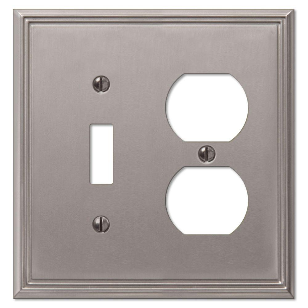 Creative Accents Metro Line 1 Toggle 1 Duplex Wall Plate - Brushed Nickel