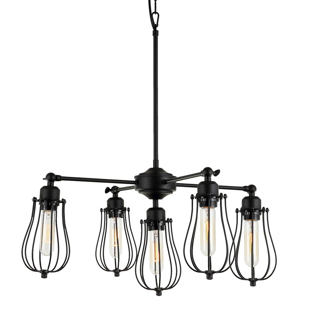 Warehouse of Tiffany Cloote 5-Light Black Metal Shade Chandelier ...